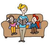 Dziecko opiekun czyta dzieci ilustracja wektor