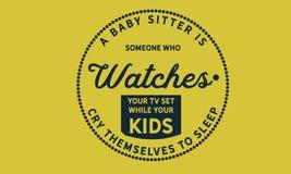 Dziecko opiekun jest someone który ogląda twój telewizor ilustracja wektor