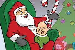 Dziecko płacze Santa Obrazy Royalty Free