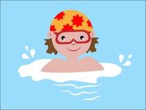 Dziecko pływa w wodzie ilustracji