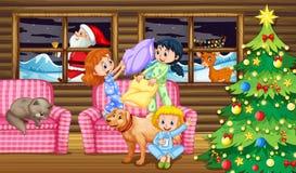 Dziecko poduszki walka przy nocą ilustracji