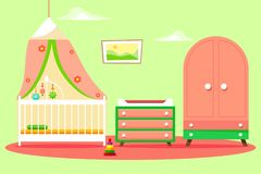 Dziecko pokój dla dziewczyny z pięknym różowym garderoby i odmieniania stołem Ściana z wystrojem chmury Wektorowy illustrati royalty ilustracja