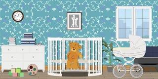 Dziecko pokoju wnętrze Płaski projekt Dziecko pokój z komódką, zabawki, pram, okno, dziecka łóżko polowe Dziecka ` s pokój royalty ilustracja