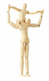 dziecko postacie szyi rodzica obsiadanie drewniany Fotografia Stock