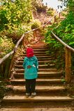 Dziecko pozycja przed schodkami prowadzi up Zdjęcie Stock