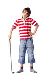 Dziecko pozycja z kijem golfowym obraz stock
