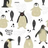 Dziecko prysznic Bezszwowy wzór z Ślicznymi pingwinami ilustracja wektor
