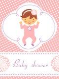 Dziecko prysznic karta z śliczną dziewczynką ilustracji