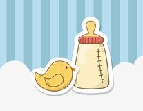 Dziecko prysznic karta z dojną butelką royalty ilustracja