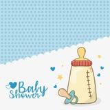 Dziecko prysznic karta z dojną butelką ilustracja wektor