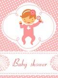 Dziecko prysznic karta z dziewczynki mienia brzękiem ilustracji