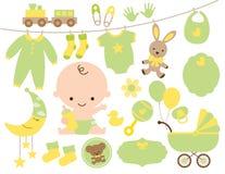 Dziecko prysznic rzecz Ustawiająca w zieleni i kolorze żółtym Zdjęcia Royalty Free