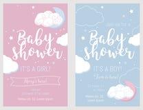 Dziecko prysznic set Śliczne zaproszenie karty dla dziecko prysznic przyjęcia Zdjęcie Royalty Free