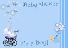 Dziecko prysznic zaproszenia karta dla chłopiec Obrazy Royalty Free