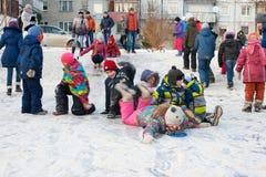 Dziecko przejażdżka z lodowatą górą Fotografia Royalty Free