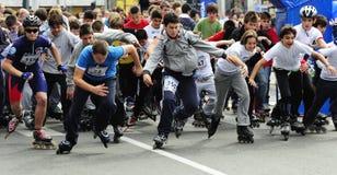Dziecko przejażdżki rolowniki przy Belgrade Rollerskates rasą Fotografia Royalty Free