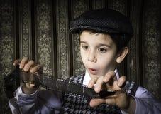 Dziecko przemyślany analogowy fotograficzny film zdjęcie royalty free