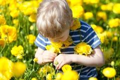 Dziecko przy kwitnącym polem zdjęcie stock