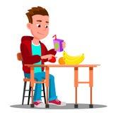 Dziecko Przy Obiadowym stołem Z owoc I sokiem W ręka wektorze Jedzenie button ręce s push odizolowana początku ilustracyjna kobie royalty ilustracja