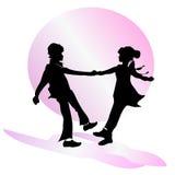dziecko przyjaźń s chłopiec komiczna dancingowa dziewczyny ilustracja stylizująca Obrazy Royalty Free