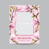 Dziecko przyjazd lub prysznic karta z fotografii magnolią i ramą - obraz stock