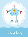 Dziecko przyjazdowa karta z ślicznym małym robotem ilustracji