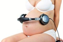 dziecko przyszłość słucha muzykę zdjęcia stock