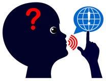Dziecko pyta pytania na internecie ilustracja wektor