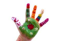 Dziecko ręka malująca akwarela na białym tle fotografia royalty free