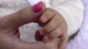 Dziecko ręka w matce zbiory wideo