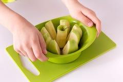 Dziecko ręki trzyma jabłczanego slicer i rozcięcia zielonego jabłka Odizolowywa na białym tle fotografia royalty free