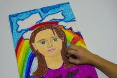 Dziecko ręka rysuje obrazków dzieci kolor, Zdjęcie Royalty Free