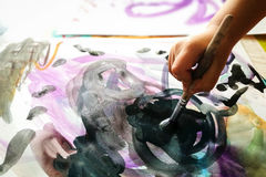 Dziecko ręki farby akwarela Zdjęcia Stock