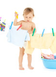 Dziecko robi pralni obraz royalty free
