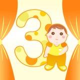 dziecko rok karciany stary trzy ilustracja wektor