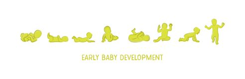 Dziecko rozwoju ikona, dziecko przyrosta sceny berbeci kamienie milowi pierwszy rok również zwrócić corel ilustracji wektora Zdjęcia Royalty Free