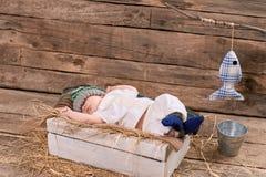 Dziecko rybak śpi Obrazy Royalty Free