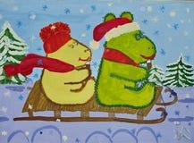 Dziecko rysunek dalej bajka Tuve Janson «błyszczka i magiczna zima «- «Jeździć na łyżwach sannę « Guasz na papierze Naiwna sztuka ilustracji
