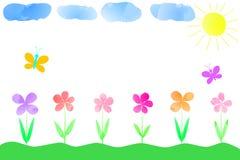 Dziecko rysunek kolorowi kwiaty, chmury, motyle i słońce świat oczyma dziecka ilustracja wektor
