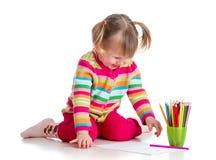 Dziecko rysunek z colourful ołówkami obrazy stock
