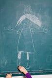 Dziecko rysunku obrazek na chalkboard Obrazy Royalty Free