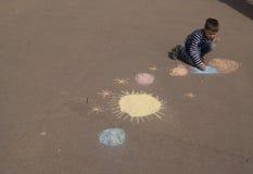 Dziecko rysunku planety i przestrzeń Zdjęcie Royalty Free