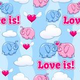 Dziecko słoń w miłość wzorze Ilustracji