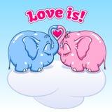 Dziecko słoń w miłości na chmurze Ilustracja Wektor