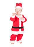 Dziecko Santa z cukierek trzciną Zdjęcie Stock