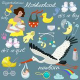 Dziecko set, r??norodne rzeczy dla dziecka dba Wektorowy ustawiaj?cy odosobneni elementy ilustracja wektor