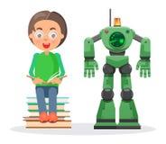 Dziecko Siedzi na stosie książki i Czyta Obok robota ilustracja wektor