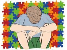 Dziecko siedzi z jego kierowniczym puszkiem przeciw tłu łamigłówki, symbole autyzm również zwrócić corel ilustracji wektora zdjęcie royalty free