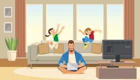 Dziecko skok za pracującym biznesowym ojcem i sztuka Pracy życia równowaga z postać z kreskówki ilustracja wektor