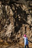 Dziecko sprawdza korzeniowego system - glebowa erozja zdjęcie royalty free